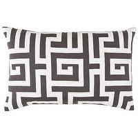 Bedding - Lili Alessandra Onasis Linen Pewter &amp; White Decorative Pillow I Layla Grayce - greek key pillow, dark gray and white greek key pillow, gray greek key pillow,