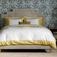 Bedding - DwellStudio Home Modern Border Citrine Duvet Cover Set I Layla Grayce - yellow bordered duvet cover, white duvet with yellow border, white bedding with yellow border,