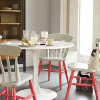 This Old House - dining rooms: docksta table, ikea dining table, ikea docksta table, modern windsor chairs, windsor dining chairs, modern windsor dining chairs, 2 tone chairs, two tone chairs, 2 tone dining chairs, white and pink chairs, white and pink dining chairs, white and pink windsor chairs,