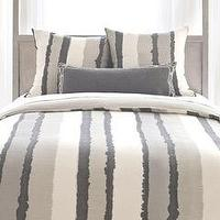 Bedding - Pine Cone Hill Painted Stripes Linen Grey Duvet Cover I Layla Grayce - gray striped bedding, gray brushstroke striped bedding, gray linen striped duvet cover,