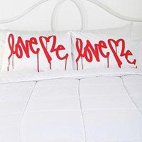 Bedding - Love Me By Curtis Kulig Pillowcase - Set Of 2 I Urban Outfitters - graphic red and white pillowcase, love me pillow case, red and white love me pillow case,