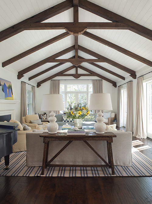Vaulted ceiling with exposed beams