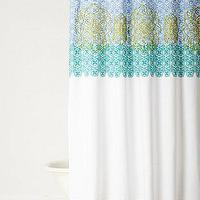 Bath - Sun Medallion Shower Curtain I Anthropologie.com - turquoise white and green shower curtain, green and blue medallion shower curtain, green blue and white shower curtain,
