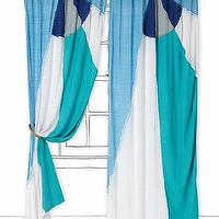 Window Treatments - Spinnaker Curtain I Anthropologie.com - aqua blue and white curtains, aqua blue and white drapes, aqua blue and white color block curtains,