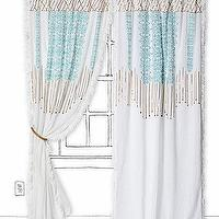 Window Treatments - Sequin Stream Curtain - Anthropologie.com - white gold and aqua curtain, white gold and aqua drapes, white gold and aqua window panel,