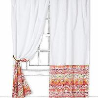Window Treatments - Todra Curtain - Anthropologie.com - indian inspired curtains, indian inspired drapes, coral and red bordered drapes, coral and red bordered curtains,
