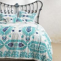 Bedding - Abaza Duvet I Anthropologie.com - blue and white moroccan duvet, blue and white wood block duvet, blue and white moroccan wood block duvet, blue and white moroccan embroidered duvet,
