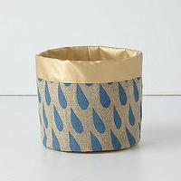 Bath - Linen Vanity Bucket I Anthropologie.com - linen basket, gold and blue linen basket, vanity bucket, linen basket with blue raindrops,