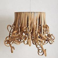 Lighting - Curlicue Pendant Lamp I Anthropologie.com - curled ribbon pendant, curled ribbon pendant lamp, rattan ribbon pendant,
