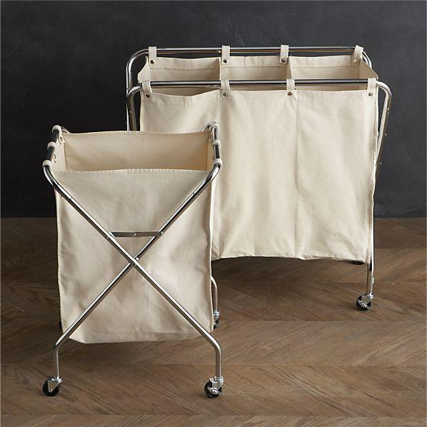 Canvas Hamper And Three Section Sorter In Laundry Crate