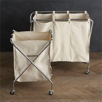 Storage Furniture - Canvas Hamper and Three-Section Sorter in Laundry | Crate and Barrel - laundry sorter, laundry bins, laundry hamper, laundry divider, laundry cart, laundry room organizer,