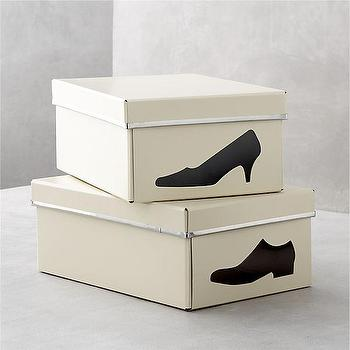 Decor/Accessories - Bigso Ivory Shoe Box with Icon in Closet | Crate and Barrel - shoe storage, shoe box, ivory shoe box, shoe box with shoe silhouette,