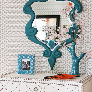 Peacock Blue Mirror, Contemporary, girl's room, Lucy and Company