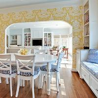 House of Fifty - dining rooms - yellow and blue dining room, blue ceiling, blue painted ceiling, blue dining room ceiling, the vase wallpaper, david hicks wallpaper, hicks wallpaper, yellow the vase wallpaper, the vase wallpaper yellow, david hicks the vase wallpaper, hicks the vase wallpaper, vase wallpaper, davi hicks vase wallpaper, dining table, white dining table, oval dining table, white oval dining table, x back dining chairs, x dining chairs, white dining chairs, white x dining chairs, white x back dining chairs, dining room, dining room window seat, built in window seat, dining room built ins, dining room built in cabinets, grosgrain roman shade, white and navy blue roman shade, navy blue grosgrain roman shade, , David Hicks The Vase Wallpaper, Macoco II Navy on Tint Fabric,