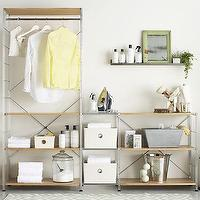 Storage Furniture - MAX Laundry Chrome Modular Shelving Set in Laundry | Crate and Barrel - chrome modular shelving, modular shelving, oak and chrome modular shelving, wood and chrome modular shelving,