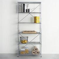 Storage Furniture - MAX Chrome Six-Shelf Unit in Laundry | Crate and Barrel - chrome shelves, chrome storage shelves, contemporary chrome storage shelves,