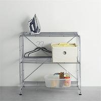 Storage Furniture - MAX Chrome Three-Shelf Unit in Laundry | Crate and Barrel - chrome shelves, chrome storage shelves, contemporary chrome storage shelves,