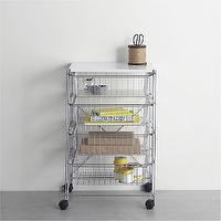Storage Furniture - MAX Chrome Four-Drawer Cart with White Top in Laundry | Crate and Barrel - chrome cart, chrome four-drawer cart, chrome four-drawer cart with white top,