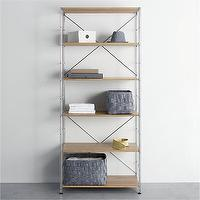 Storage Furniture - MAX Chrome Six-Shelf Unit with Wood Shelves in Laundry | Crate and Barrel - chrome modular shelving, modular shelving, oak and chrome modular shelving, wood and chrome modular shelving,