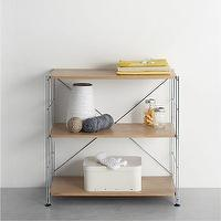 Storage Furniture - MAX Chrome Three-Shelf Unit with Wood Shelves in Laundry | Crate and Barrel - chrome modular shelving, modular shelving, oak and chrome modular shelving, wood and chrome modular shelving,
