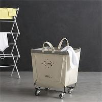 Storage Furniture - Steele Square Canvas Bin in Laundry | Crate and Barrel - canvas laundry bin, laundry cart, laundry bin on castors,