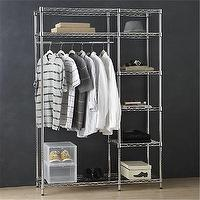 Storage Furniture - Work Closet in Laundry | Crate and Barrel - chroma shelves, chrome storage shelves, storage shelves,