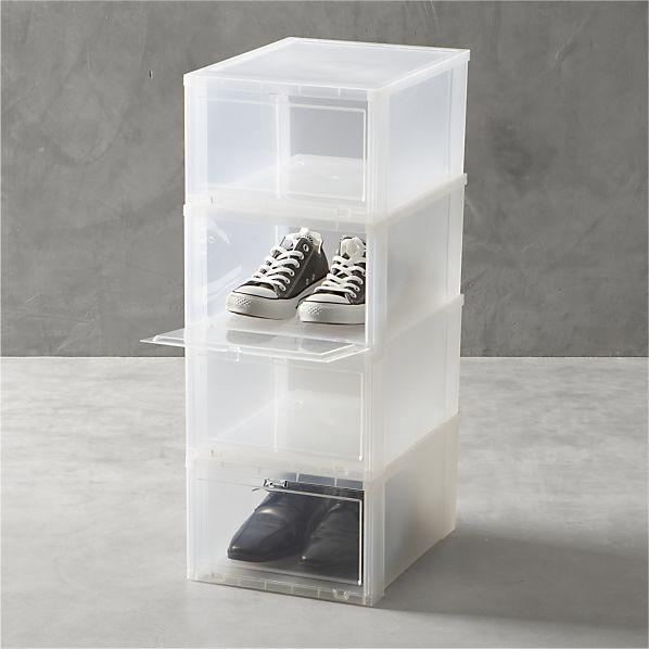 Large Clear Shoe Boxes Set Of Four In Closet Crate And