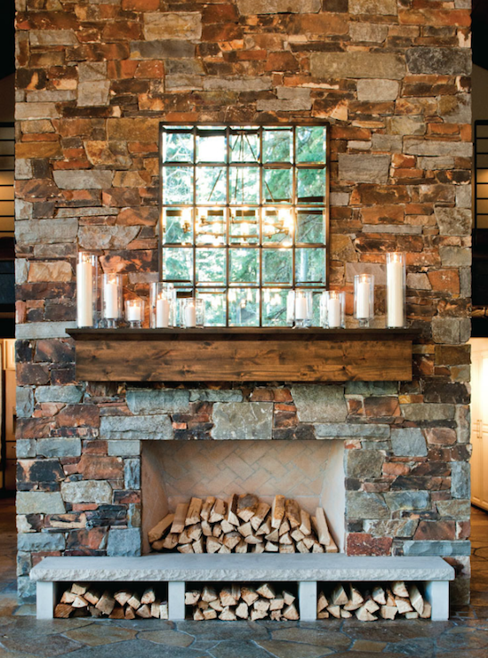 Stone Fireplace Country Living Room Ashley Winn Design