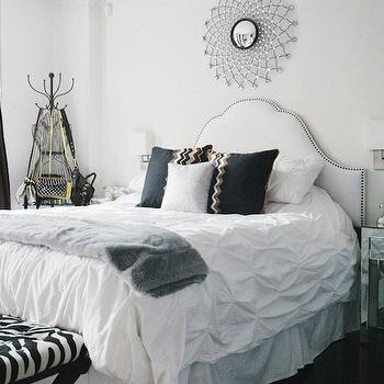 White Studded Headboard, Contemporary, bedroom, The Every Girl