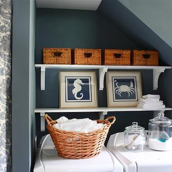 Laundry Room Paint Colors, Cottage, laundry room, Sherwin Williams Storm, Sarah Macklem Interiors