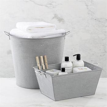 Decor/Accessories - Galvanized Tub and Bin in Utility | Crate and Barrel - galvanized tub, galvanized bin, galvanized bucket,