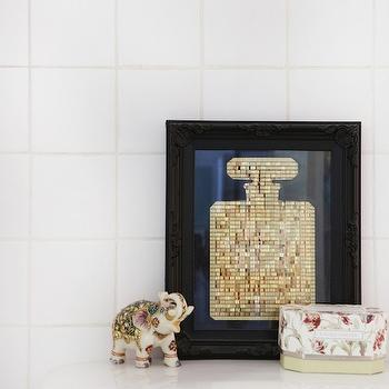The Every Girl - bathrooms - elephant statue, gold chanel no 5, chanel no 5 art, chanel no 5 art print, gold chanel art,  Helena del Rio - A