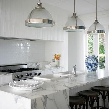 Calcutta Marble Kitchen Island, Transitional, kitchen, Burley Katon Halliday
