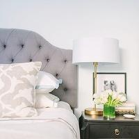 The Every Girl - bedrooms - Farrow &amp; Ball - Cabbage White - ballard designs headboard, gray headboard, gray tufted headboard, camden headboard, camden tufted headboard, barbara barry pillow, poetical linen pillow, barbara barry poetical linen pillow, black nightstand, scalloped nightstand, black scalloped nightstand, scalloped black nightstand, brass table lamp, ryder lamp, ryder swing arm lamp, brass table lamp, brass swing arm lamp, white and blue bedding, serena and lily bedding, aqua border frame duvet, aqua border frame shams, gobi embroidered sheet set, serena and lily sheets, serena and lily sheet set, pom pom throw, pom pom throw blanket,
