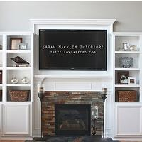 Sarah Macklem Interiors - living rooms: built ins, built in cabinets, living room built ins, living room built in cabinets, media cabinets, living room media cabinets, built in media cabinets, fawn brindle, gray walls, gray living room walls, gray paint, gray living room paint colors, gray paint colors, stone fireplace, fireplace mantle, flatscreen tv,