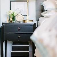The Every Girl - bedrooms - Farrow &amp; Ball - Cabbage White - ballard designs headboard, gray headboard, gray tufted headboard, camden headboard, camden tufted headboard, vintage black nightstand, black nightstand, scalloped nightstand, black scalloped nightstand, scalloped black nightstand, brass table lamp, ryder lamp, ryder swing arm lamp, brass table lamp, brass swing arm lamp, white and blue bedding, serena and lily bedding, aqua border frame duvet, aqua border frame shams, gobi embroidered sheet set, serena and lily sheets, serena and lily sheet set,