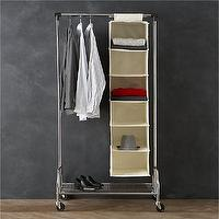 Storage Furniture - Twill Hanging Sweater Bag with Ticking in Closet | Crate and Barrel - hanging sweater bag, closet storage, hanging closet storage, hanging twill closet storage,