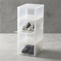 Storage Furniture - Large Clear Shoe Boxes Set of Four in Closet | Crate and Barrel - clear shoe storage, clear shoe boxes, shoe storage boxes,