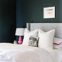 The Every Girl - bedrooms - Farrow &amp; Ball - Pitch Black - gray and pink bedroom, black walls, black bedroom walls, black paint, black paint colors, gray wingback headboard, gray headboard, linen headboard, gray linen headboard, studded headboard, gray studded headboard, gray nailhead headboard, ventura duvet, embroidered sheets, embroidered sheet set, shams, berry shams, pink shams, border frame shams, pink shams, pink border frame shams, mid century nightstands, white nightstands, pink lamp, pink gourd lamp, pink table lamp, pink ceramic lamp, robert abbey lamp, gourd lamp, pink gourd lamp, triple gourd lamp, pink triple gourd lamp, lust pillow, jonathan adler pillows,
