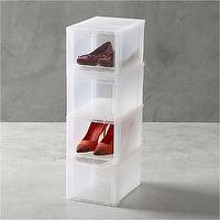 Storage Furniture - Small Clear Shoe Boxes Set of Four in Closet | Crate and Barrel - shoe storage, clear shoe boxes, clear shoe storage,