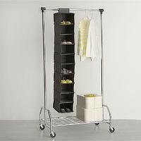 Storage Furniture - Grey 10-Section Hanging Shoe Bag in Closet | Crate and Barrel - hanging shoe storage, hanging shoe bag, hanging shoe closet storage,