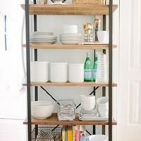 The Every Girl - kitchens - Farrow & Ball - Cornforth White - kitchen etagere, gold flatware, west elm gold flatware, copper pepper mill, cornforth white,