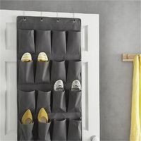 Storage Furniture - Grey Over The Door Shoe Bag in Closet | Crate and Barrel - over the door shoe bag, over the door shoe storage, shoe closet storage,