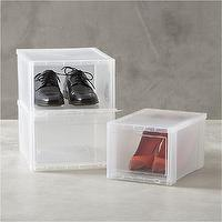 Storage Furniture - Clear Shoe Boxes in Closet | Crate and Barrel - clear shoe boxes, shoe storage, clear shoe storage,