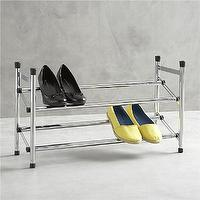 Storage Furniture - Expandable Shoe Rack II in Closet | Crate and Barrel - expandable shoe rack, shoe rack, extending shoe rack,