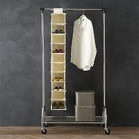 Storage Furniture - Twill 10-Section Hanging Shoe Bag in Closet | Crate and Barrel - hanging shoe bag, hanging shoe storage, hanging shoe closet storage,