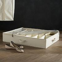 Storage Furniture - Twill Underbed Divided Storage with Ticking in Closet | Crate and Barrel - underbed storage, underbed divided storage, twill underbed storage,