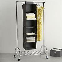 Storage Furniture - Grey Hanging Sweater Bag in Closet | Crate and Barrel - hanging sweater bag, sweater storage, hanging closet storage,