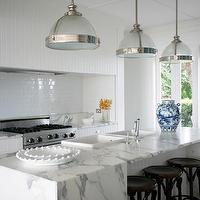 Burley Katon Halliday - kitchens - beautiful kitchens, beadboard kitchen hood, beadboard trim hood, beadboard trim kitchen hood, subway tile backsplash, gas range, cooktop alcove, waterfall kitchen island, calcutta kitchen island, calcutta marble island, calcutta marble kitchen island, long kitchen island, waterfall marble kitchen island, double bowl sinks, black bar stools, black backless bar stools, clemson classic pendant, restoration hardware pendants,