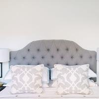 The Every Girl - bedrooms - ballard designs headboard, gray headboard, gray tufted headboard, camden headboard, camden tufted headboard, barbara barry pillow, poetical linen pillow, barbara barry poetical linen pillow, black nightstand, scalloped nightstand, black scalloped nightstand, scalloped black nightstand, brass table lamp, ryder lamp, ryder swing arm lamp, brass table lamp, brass swing arm lamp, white and blue bedding, serena and lily bedding, aqua border frame duvet, aqua border frame shams, gobi embroidered sheet set, serena and lily sheets, serena and lily sheet set, , Ballard Designs Camden Tufted Headboard, Serena &amp; Lily Aqua Border Frame Duvet &amp; Shams, Serena &amp; Lily Pewter Gobi Embroidered Sheet Set, Brushed Brass Ryder Swing Arm Kichler Table Lamp,